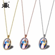 RIR Stainless Steel Virgin Mary Holding Child Pendant Necklaces Christian Blessing Faith Necklace Religious Best Gift mary sheldon child s day out