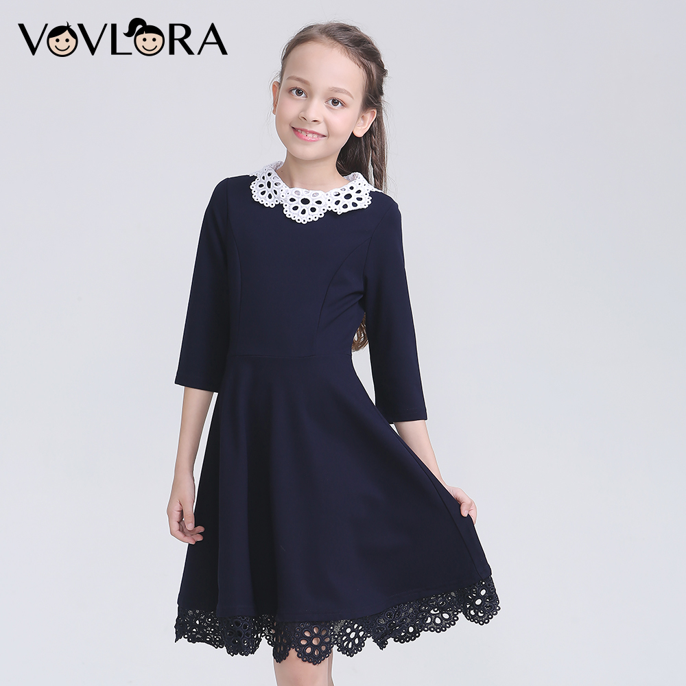 2018 Autumn School Uniform For Girls O Neck Half Sleeve Kids School Dress Patchwork Lace Children Clothes Solid Size 6 7 8 Years women s casual solid slash neck half sleeve lace crop top