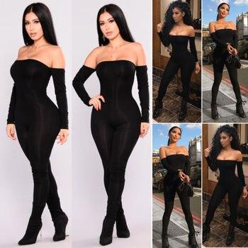 Autumn Women Off Shoulder Clubwear Playsuit Bodycon Jumpsuit Romper Long Trouser New 1