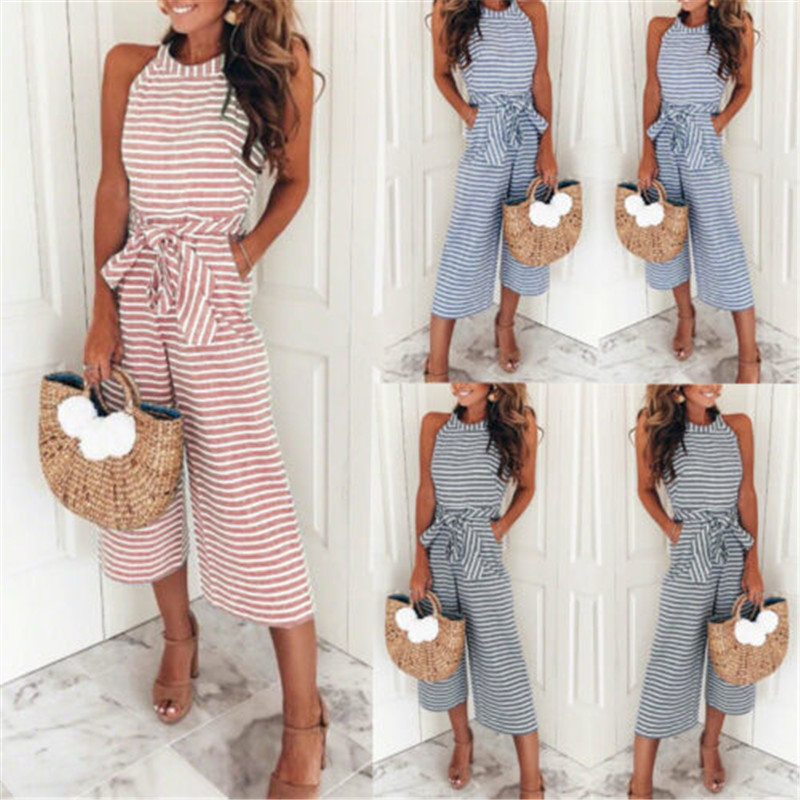 2019 Womens Boho Striped Sleeveless Jumpsuit Waist Belted Wide Leg Loose Jumpsuit Romper with Pockets