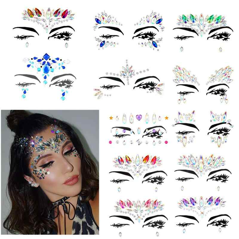 Detail Feedback Questions about Face jewels Gems Temporary Tattoo Stickers  Festival Party Makeup Body Art Gems Rhinestone Flash Tattoo Sticker Stage  Make Up ... e5547794f7ee
