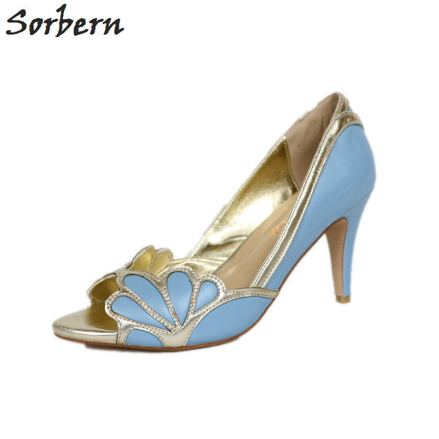 Sorbern Dress Shoes Women Pumps Blue Light Gold Bridal Shoes Vintage Wedding  Pump Shoe Women Heels ee945bb874