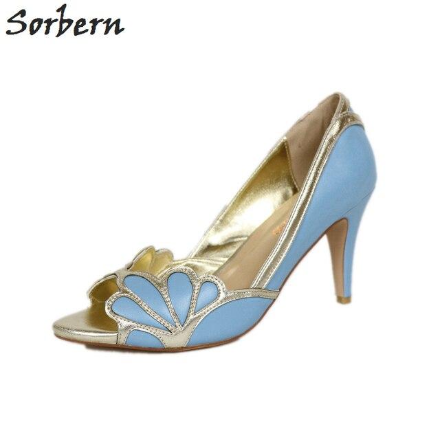 Sorbern Kleid Schuhe Frauen Pumpen Blau Licht Gold Braut Schuhe