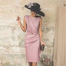 1b4ef018db1ea Spróbować wszystkiego letnia sukienka w stylu Vintage kobiety drapowana Dot  letnia sukienka 2019 różowy klasyczne eleganckie