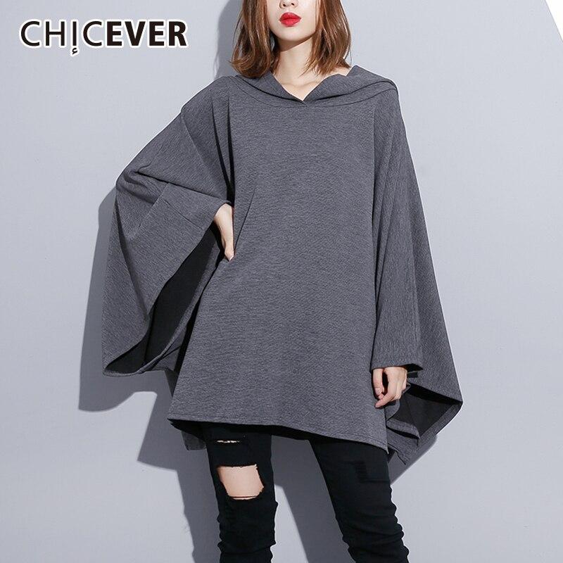 CHICEVER Autumn Sweatshirt For Women s Hoodies Batwing Long Sleeve Loose Oversize Irregular Hem Pullovers Fashion