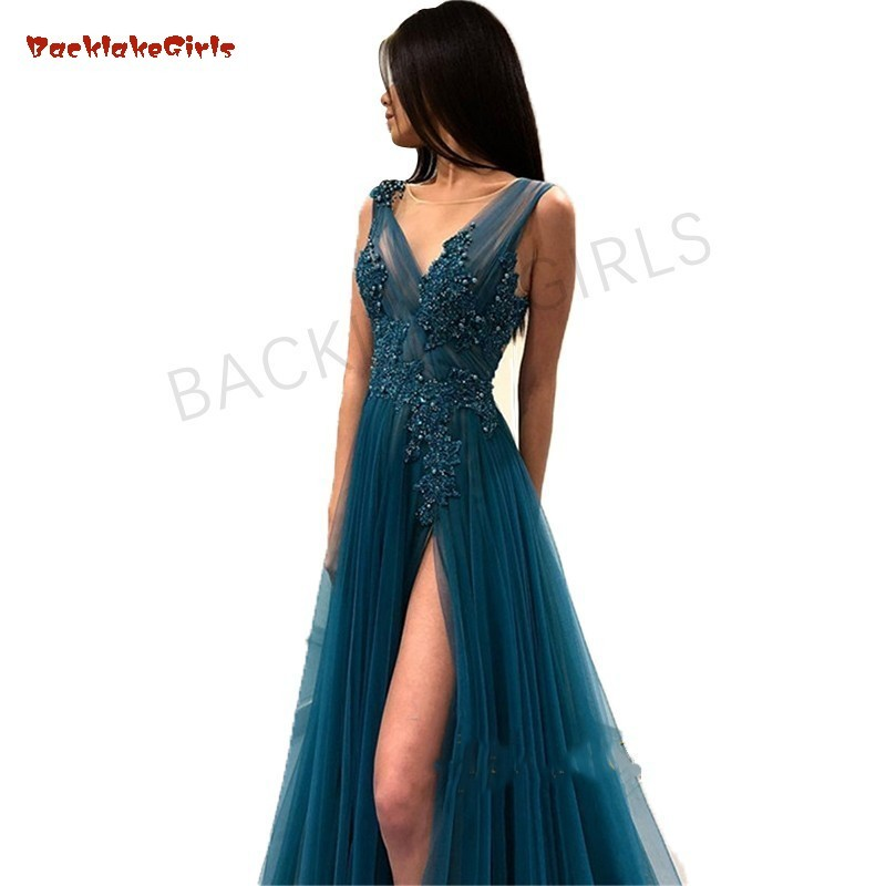 Sexy Tulle Long   Evening     Dress   2018 New Arrival Backless Sweep Train Lace A Line Special Occasion Prom Gowns Custom Made