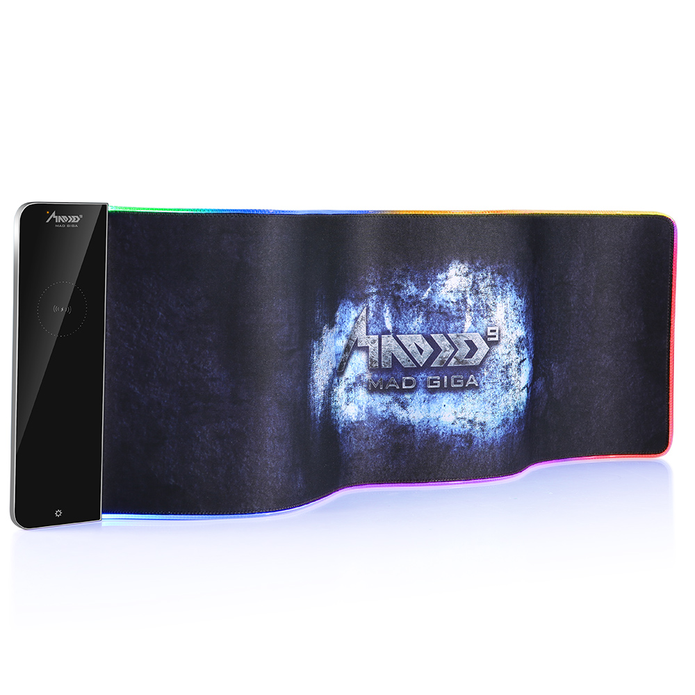 Tapis de souris MAD GIGA RGB, grand tapis de souris chargeur sans fil 80 cm * 26 cm, tapis de souris de jeu 7 couleurs
