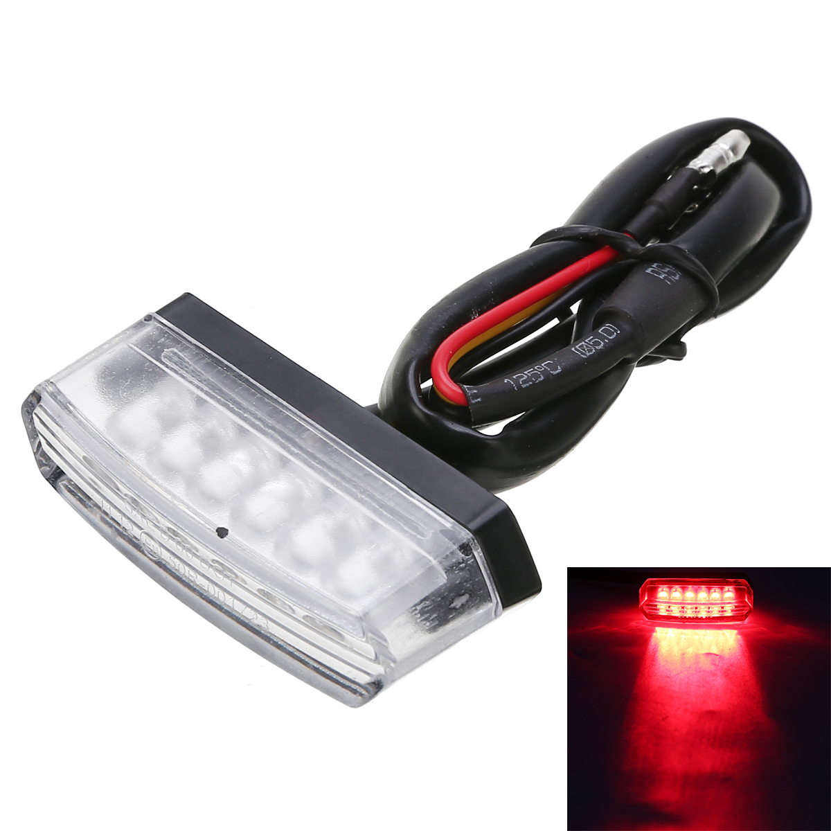 New Arrival 1pc Red Mini Motorcycle Light 6LED Rear Number License Plate Tail Light Lamp Clear Lens