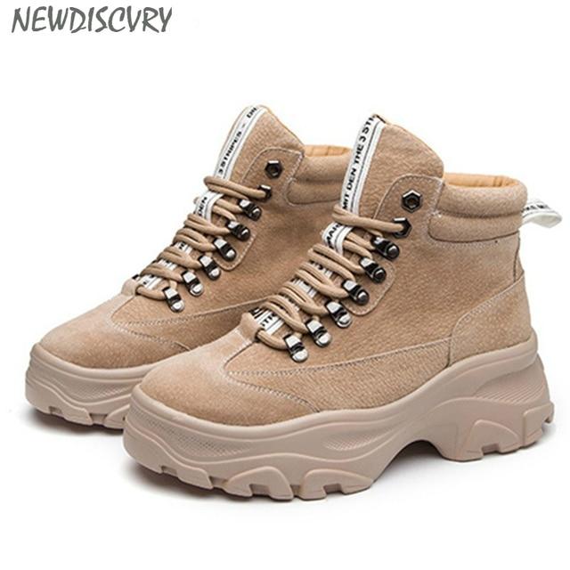 NEWDISCVRY Da Thật Chính Hãng Da nữ Mùa Đông Giày Sang Trọng Ấm Nữ Nền Tảng Giày Sneakers Thời Trang 2019 Chiến Đấu Giày Người Phụ Nữ Martin Giày