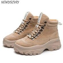 NEWDISCVRY bottes dhiver en cuir véritable pour femmes, baskets chaudes en peluche à plateforme, chaussures de Combat à la mode 2020