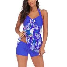 Tankini feminino plus size maiô hatler roupa de banho com calças impressão maiô feminino vintage grande beachwear 5xl