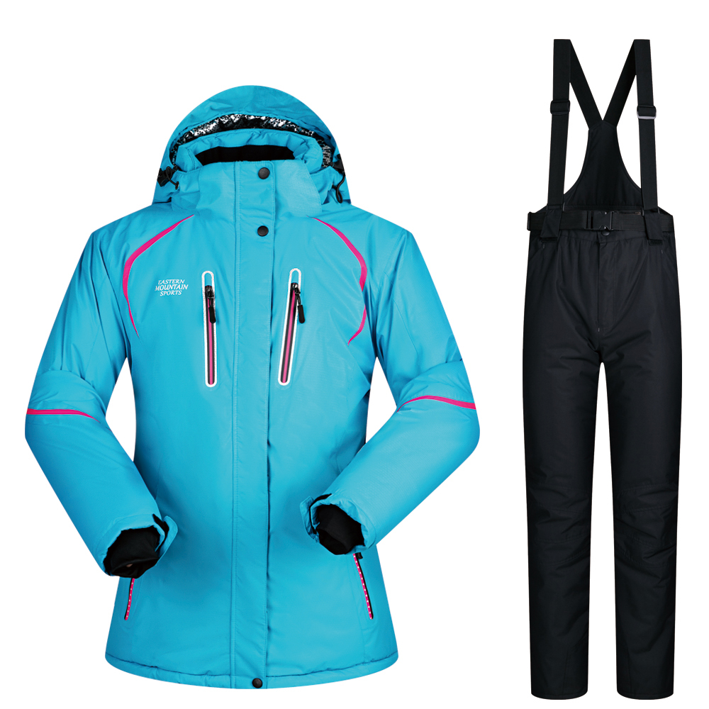 30 Degree Hot Women Winter Ski Outdoor Riding Snow Clothing Thick Waterproof Female Jacket Pants Set Skiing Snowboarding Suits
