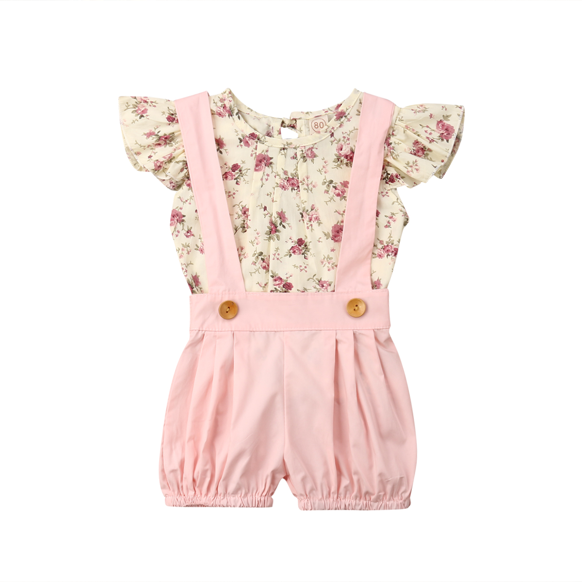 Kids Baby Girl Floral T-shirt Tops Suspender Dress 2PCS Outfits Princess Clothes