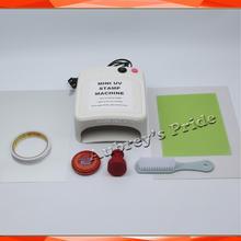 صغيرة بسيطة 36 واط UV التعرض مصابيح آلة خاتم ضوئي التحبير الذاتي ختم صنع السدادة 15x20 مللي متر بوليمر 2 قطعة مجموعة لوحة