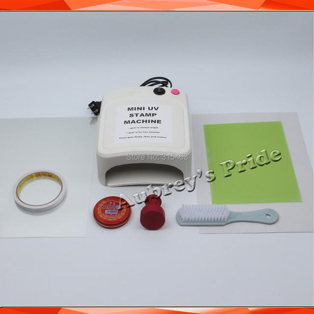 Mini Simple 36W UV Exposure Lamps Flash Stamp Machine Self inking Stamping Making Sealer 15x20mm Polymer 2Pcs Plate Kit