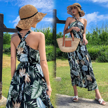 Summer new tropical printed hang neck show thin dress strapless Thailand holiday beach