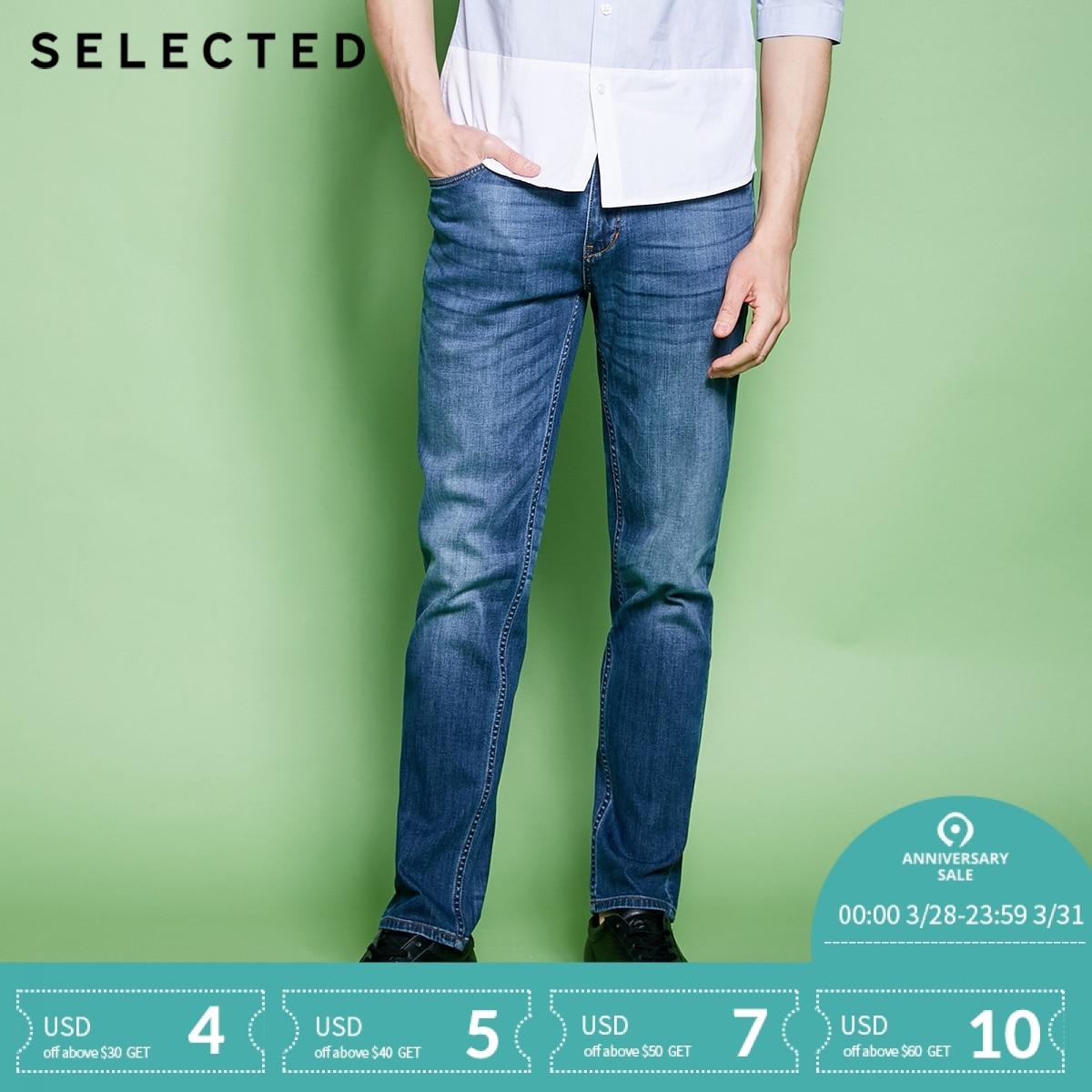 AUSGEWÄHLT Männer der Baumwolle-mischung Leichte Stretch Whiskers Waschen Wirkung Slim Fit Jeans C | 418132525