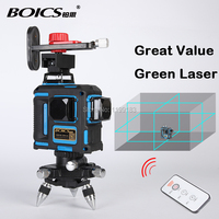 Free shipping Boics 12lines 8V4H laser line cross line laser rotary laser level self leveling level laser with Infra red remote