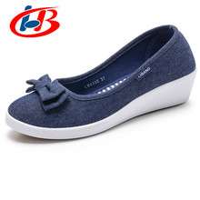 Купить с кэшбэком LIBANG High Quality Women Platform Shoes Wedges Autumn Summer Women Pumps Shallow Breathable Shoes Women Canvas Shoes with Bow