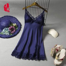 Women Nightdress Silk Summer Sleepwear Lace Sexy Nightwear Satin Strap Home Dress  Nightgown For Woman