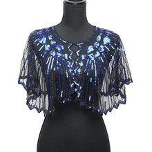b71315adeae Vintage mujer 1920 s lentejuelas chal Poncho elegante señoras pura malla  brillante lentejuelas cuentas festoneado noche