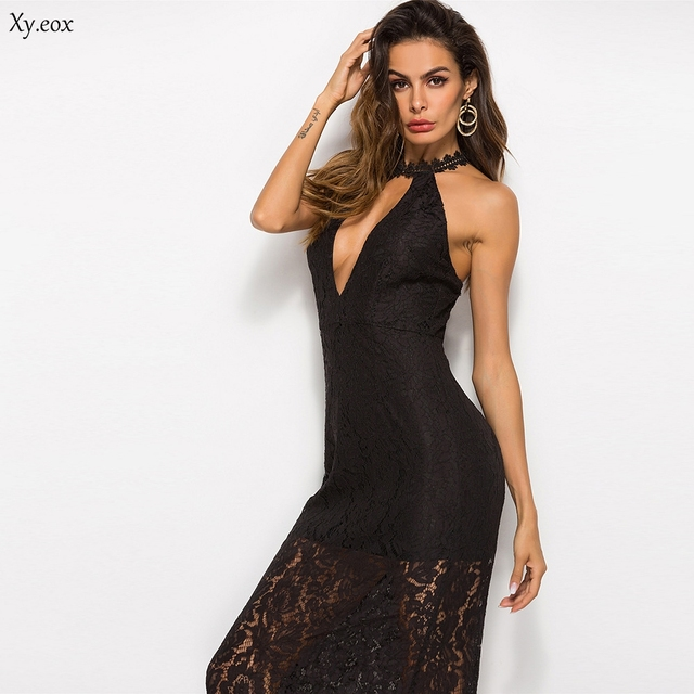 f0cd579ea7 New Women s Lace Topless Sexy Dress Solid Color Sleeveless Dress Long Sling  Dress Backless Lady Evening
