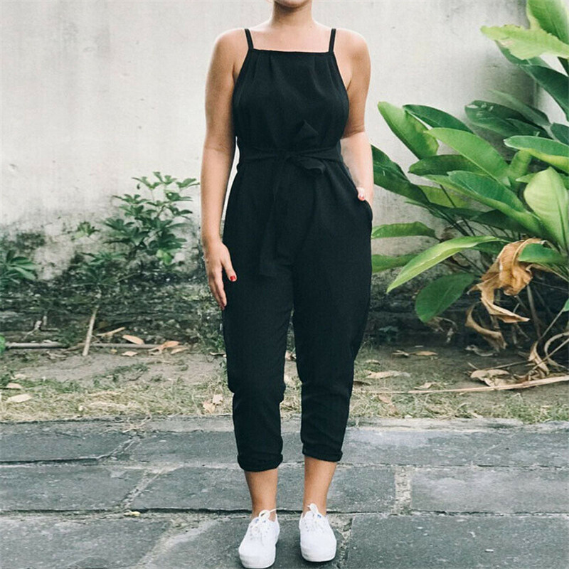 Women's Summer Jumpsuit Overalls Sleeveless Dungaree Palysuit Clubwear Romper Long Trousers Beach Holiday Loose Pocket Jumpsuit