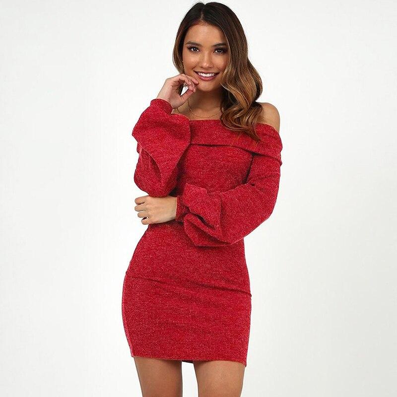 Sexy Off Shoulder Sweater Dress Women Elegant Lantern Long Sleeve Solid High Waist Wrap Dress Slim Bodycon Mini Knitted Dress