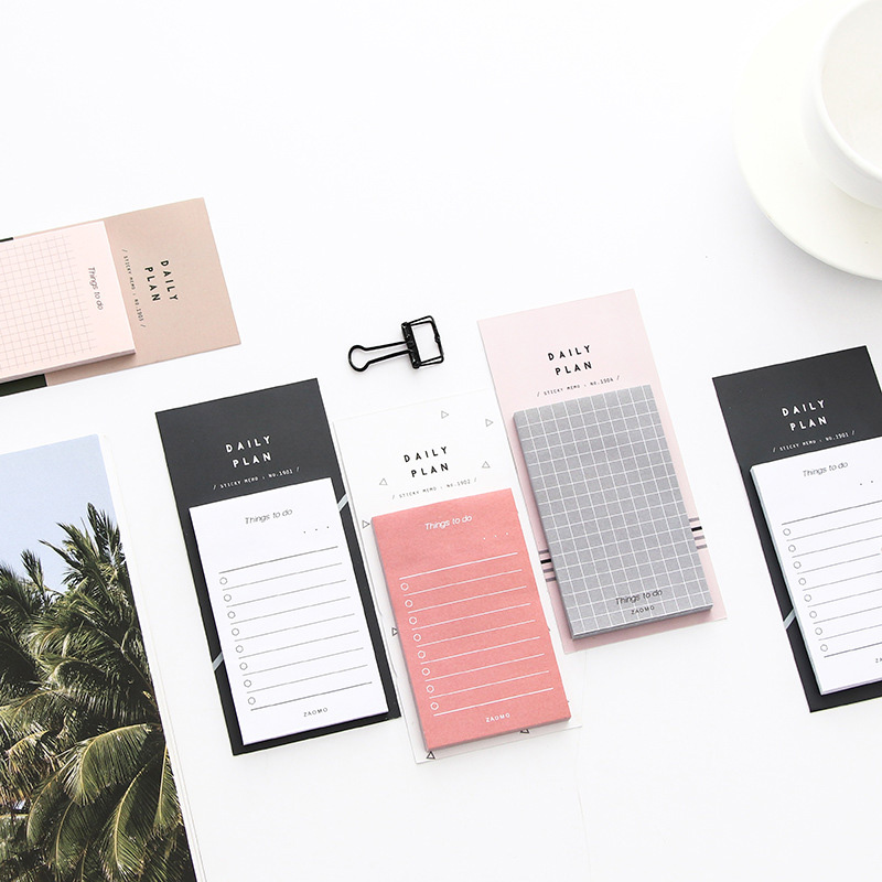 Kawaii Colors Grid Memo Pads Study&Work Plan Kraft Paper Sticky Notes Weekly Daily Planner Writing Pads School Office Supplies