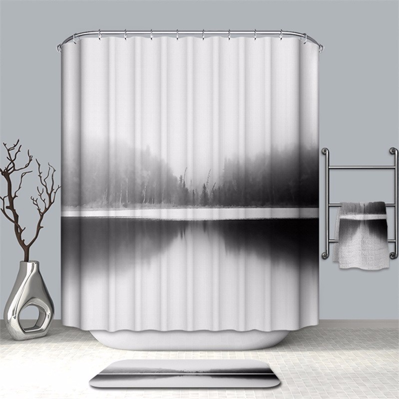 Image 2 - VOZRO Bathroom Shower Curtain Quality Natural Waterproof Polyester 2 M Cloth 3D Totem Simple Douchegordijn Bape Splatoon Cortina-in Shower Curtains from Home & Garden