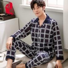 купить Cotton Pyjama Men Set Spring Turn-down Collar Pijama Men Sleepwear Suit Long Sleeve Pajama Man Two Piece Autumn Pajama Male XXXL по цене 554.71 рублей