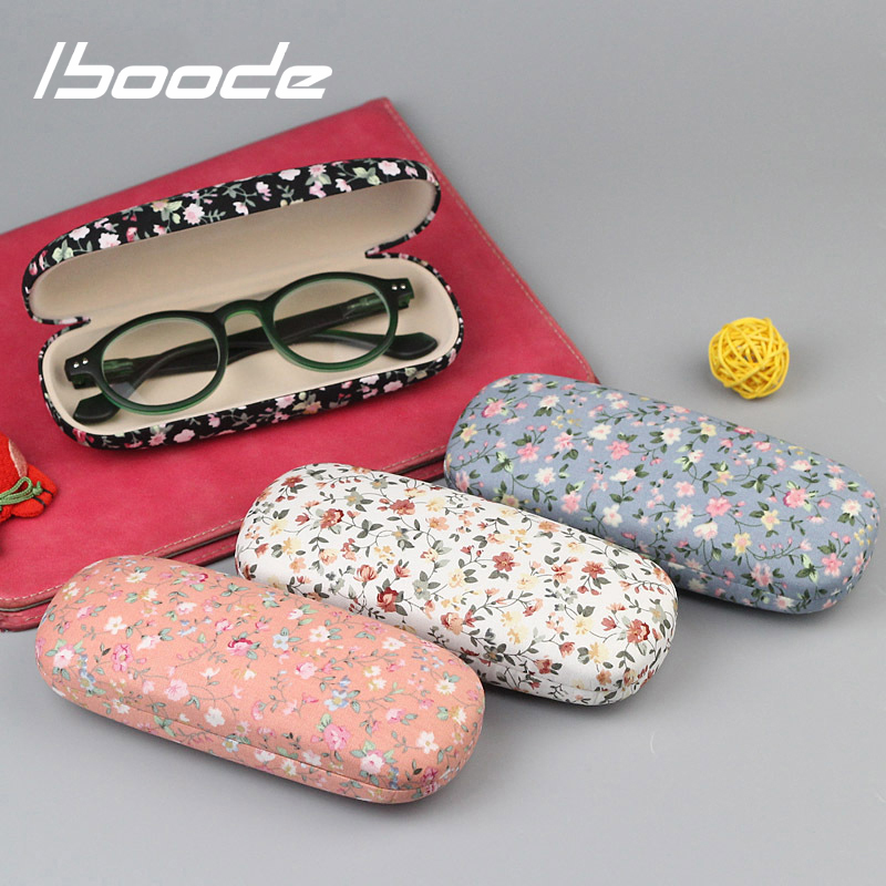 Iboode Retro Floral Printing Reading Glasses Case Box Women Hard Flower Pattern Spectacles Storage Case Holder Female Organizer