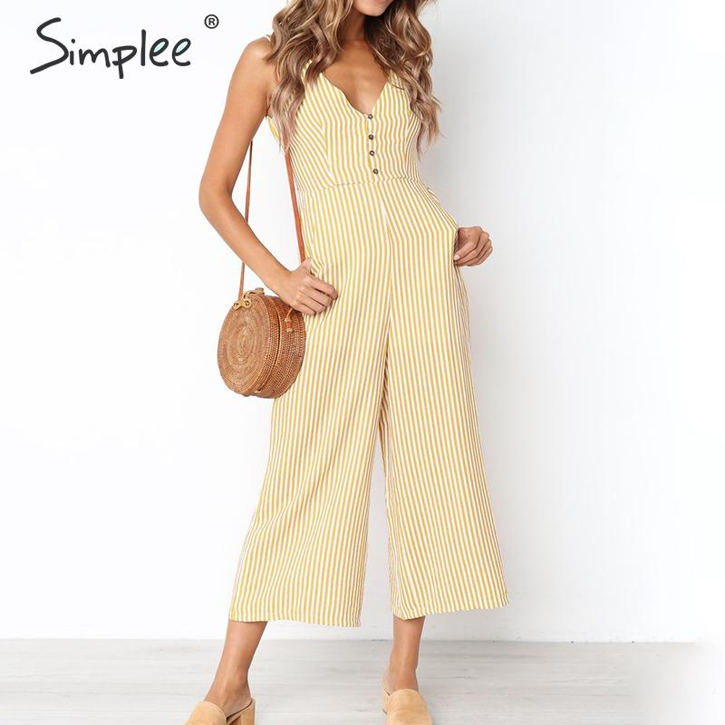 Simplee V-neck stripe women   jumpsuit   Elegant vest button female   jumpsuit   romper Summer casual wide leg beach overalls playsuit