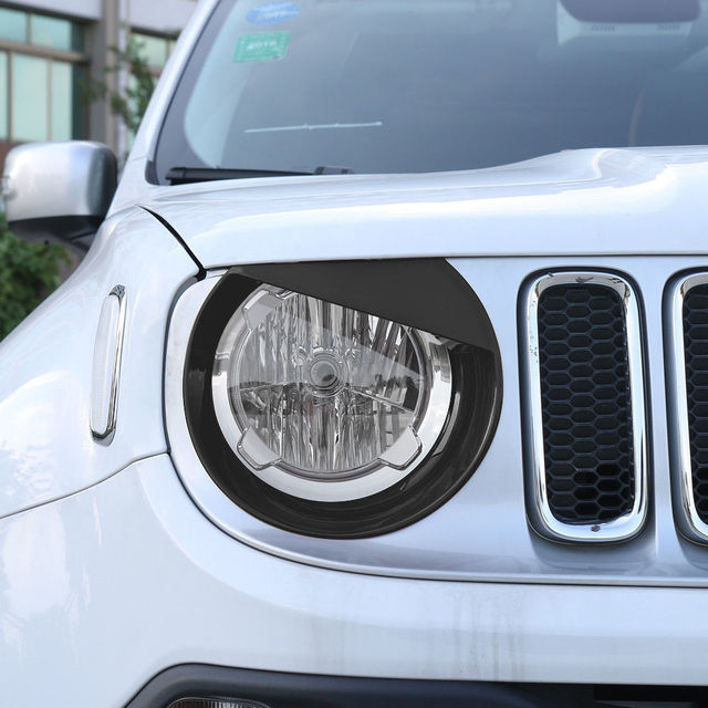 Car Exterior Chrome Front Head Light Grill Cover Trim For Jeep Renegade 2015-18 3