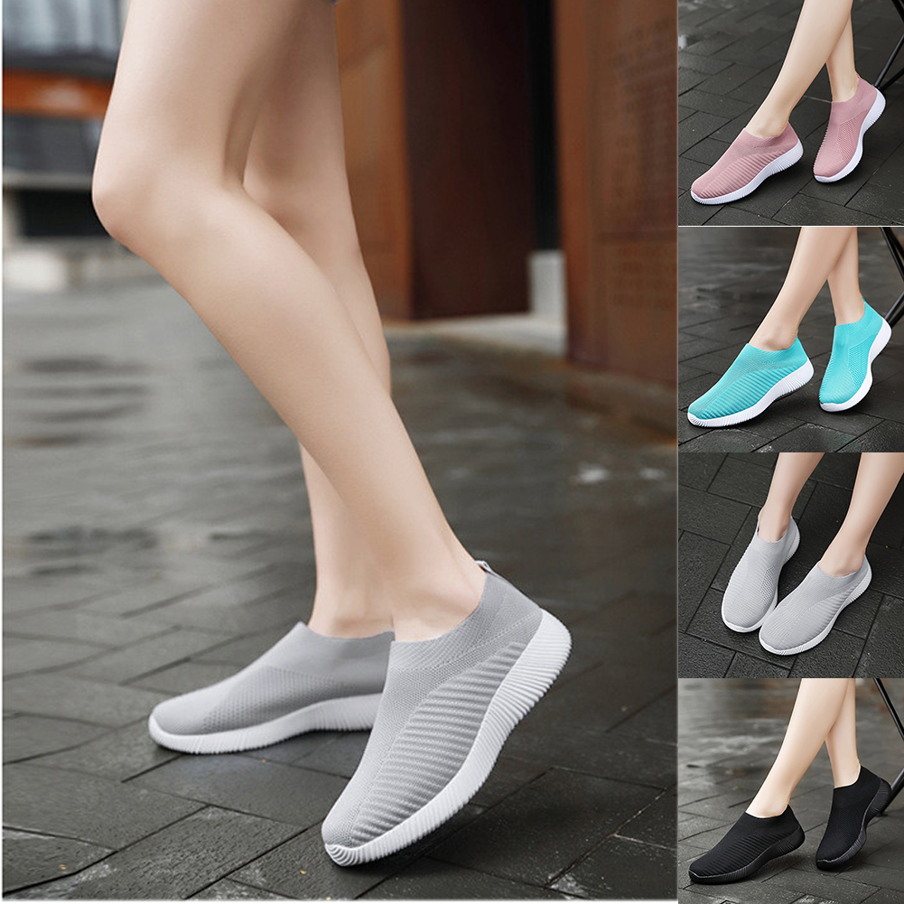 Buy Women's Sport Shoes Flats Vulcanize Shoes Elastic Mesh Trainers Light Casual Travel Running Sneakers Tennis Shoes Slip-On Flats