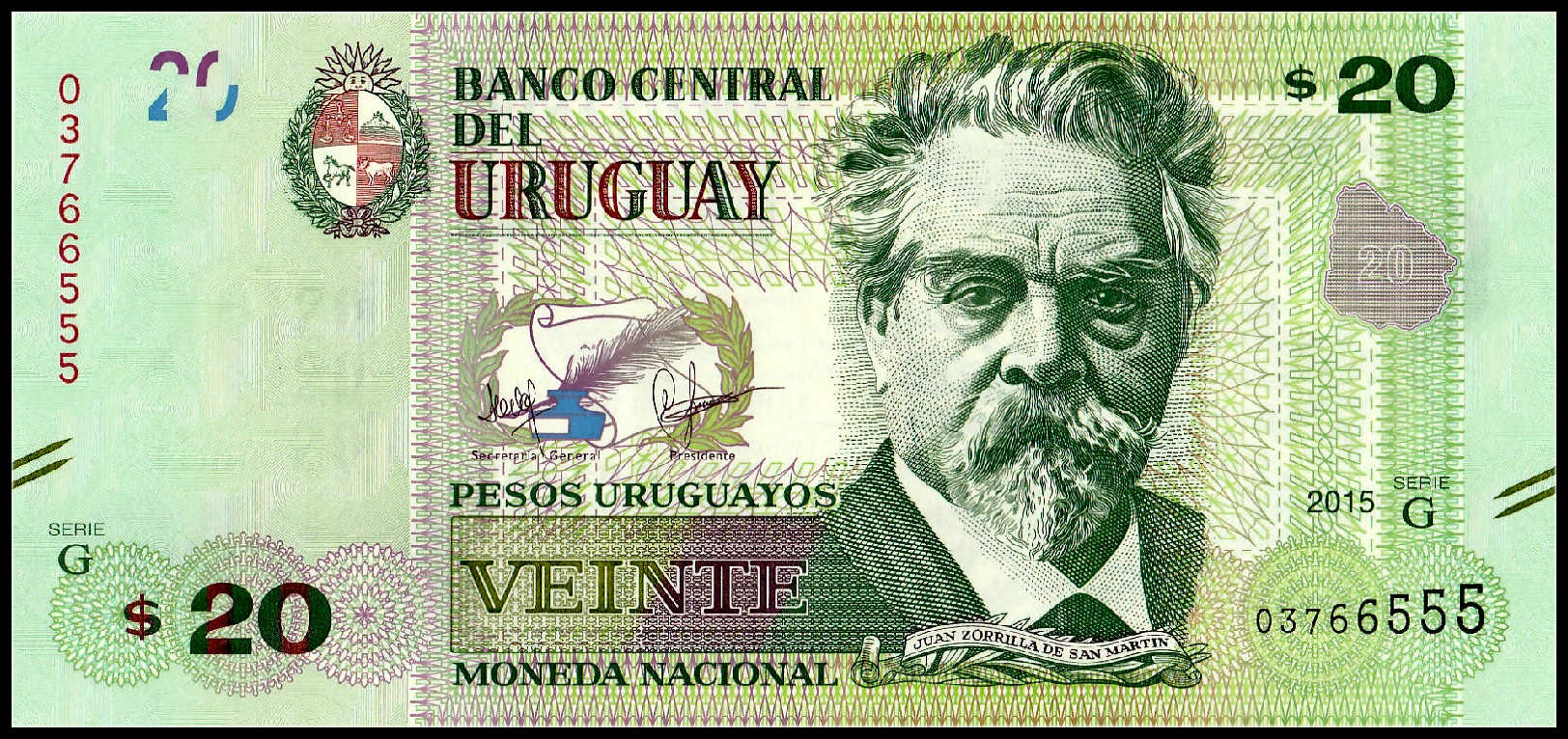 URUGUAY NEW ! UNC 2018 5 POLYMER NOTE 50 PESOS URUGUAYOS 2017