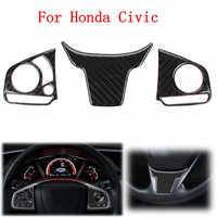 3Pcs Car Interior Steering Wheel Button Switch Panel Cover Trim Decoration Carbon Fiber for Honda Civic 2016 2017