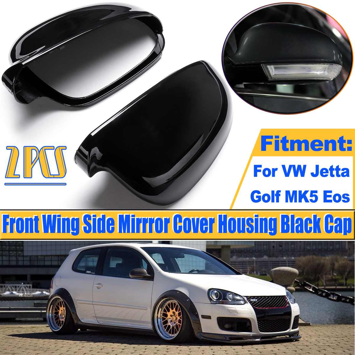 VW Polo MK4 2005-2010 Primed Door Wing Mirror Cover Pair Left /& Right
