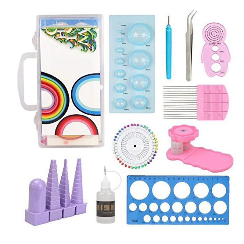 Children Fun Puzzle Craft Paper DIY Paper Quilling Tools Set Tweezer Pins Slotted Tool Kit Template Mould Board