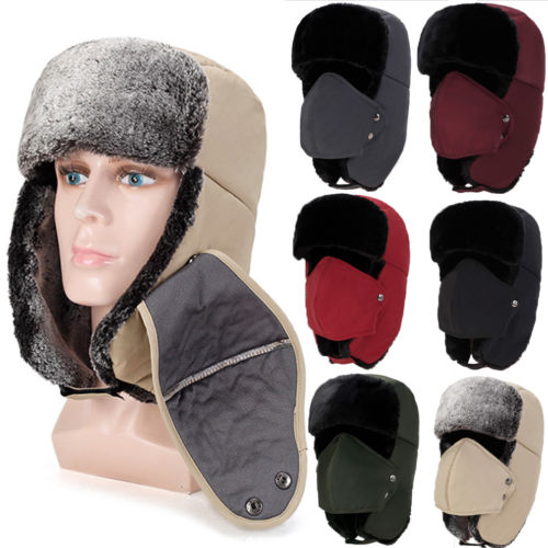Hat Aviator Bomber Earflap Trooper Trapper Winter Women Hot Unisex Warm with Mask-Fur