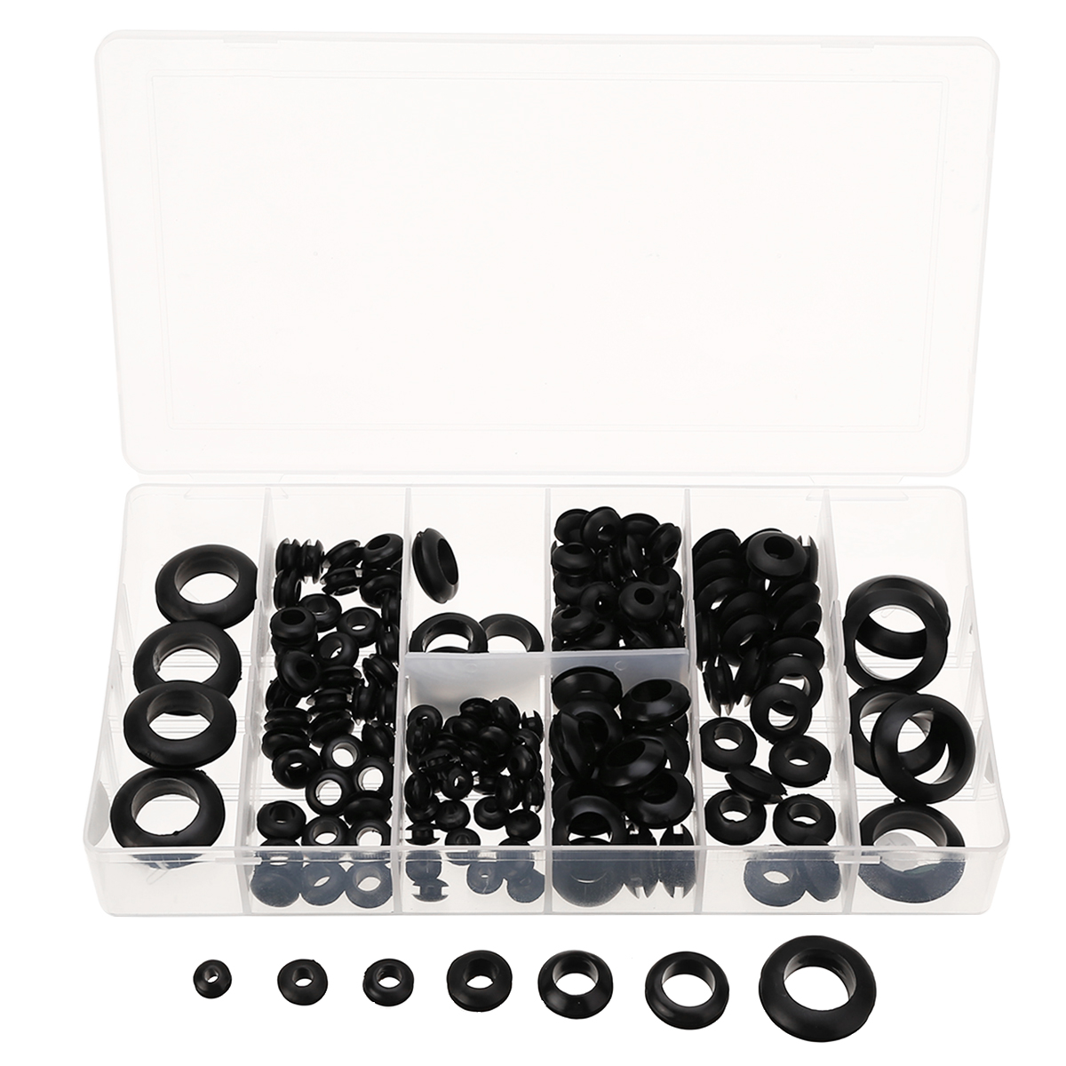180pcs/lot Rubber Grommets Sets Black Retaining Ring Set Blanking Hole Wiring Cable Gasket Seal Assortment Set 100pcs 3 4 5 6 7 8 10 12 14 16 18 20mm inner diameter cable wiring rubber grommets gasket ring wire protective loop black white