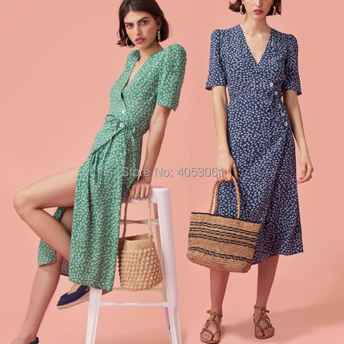 Viscose 100 Wrap Style Midi Dress With Button Closure Ties 2019ss Women V Neck Green Navy