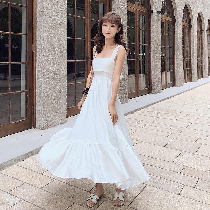 01bac544693 Женский Приморский белый летнее платье 2019 новые модные женские туфли без  рукавов Спагетти ремень Длинные белые