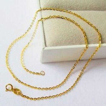 New Pure Au750 18K Yellow Gold Chain Women O Link Necklace 16inch 1