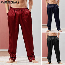 INCERUN Men Sleep Pants Silk Satin Pajamas Loose Homewear Tr