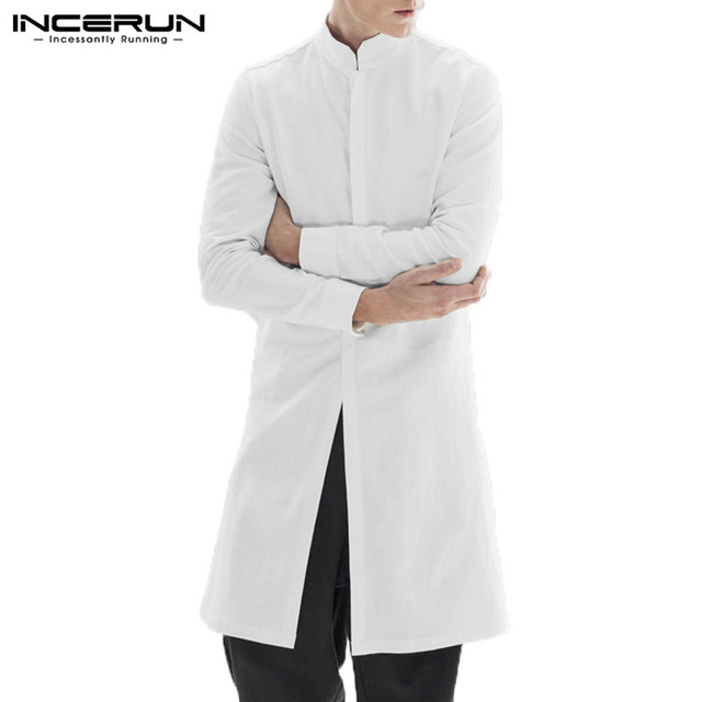 INCERUN Vintage Mens Shirt Stand Collar Cotton Long Sleeve Male Long Tops  Streetwear Casual Indian Kurta Suit Shirt Hombre L-5XL 8901be8078f5