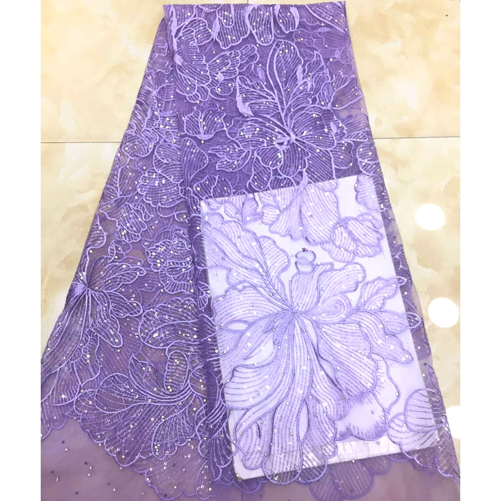 Fashion Shiny Fabric Nigerian Purple Lace Fabrics African Lace Fabric 2019 High Quality French Sequin fabric