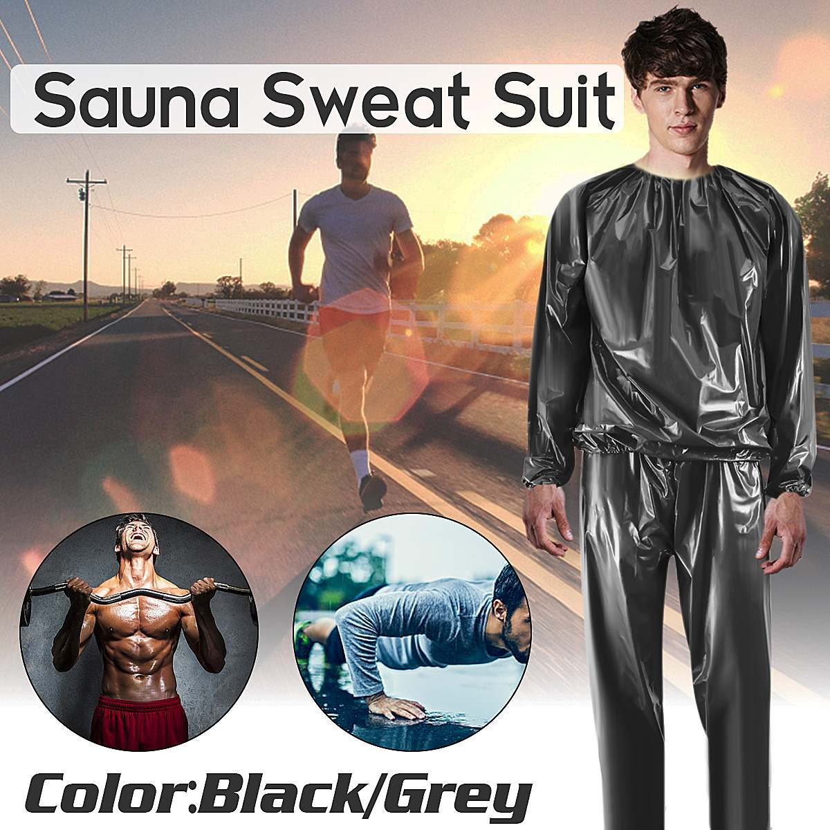 Heavy Duty Fitness Weight Loss Sweat Sauna Suit PVC Full Body Sauna Suit Exercise Gym Anti-Rip For Women Men