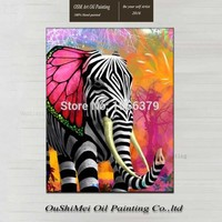 High Skill Handpainted Long Elephant Colorful Animal Oil Painting for Living Room Decor Realistically Wall Painting Artwork