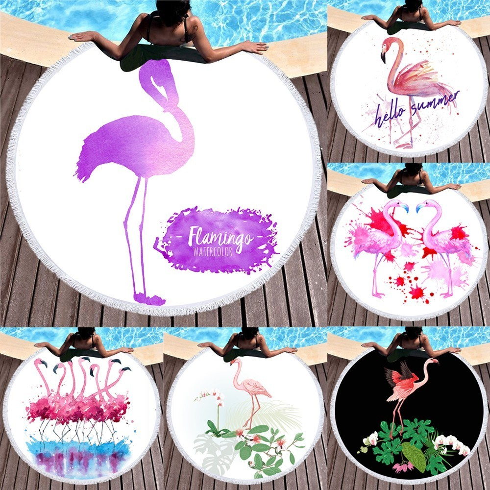 In Temperate Flamingo Round Beach Towels Microfiber Boho Style Good Water Absorption Yoga Mat Swimsuit Wrap Skirt Shawl 150x150cm Exquisite Workmanship